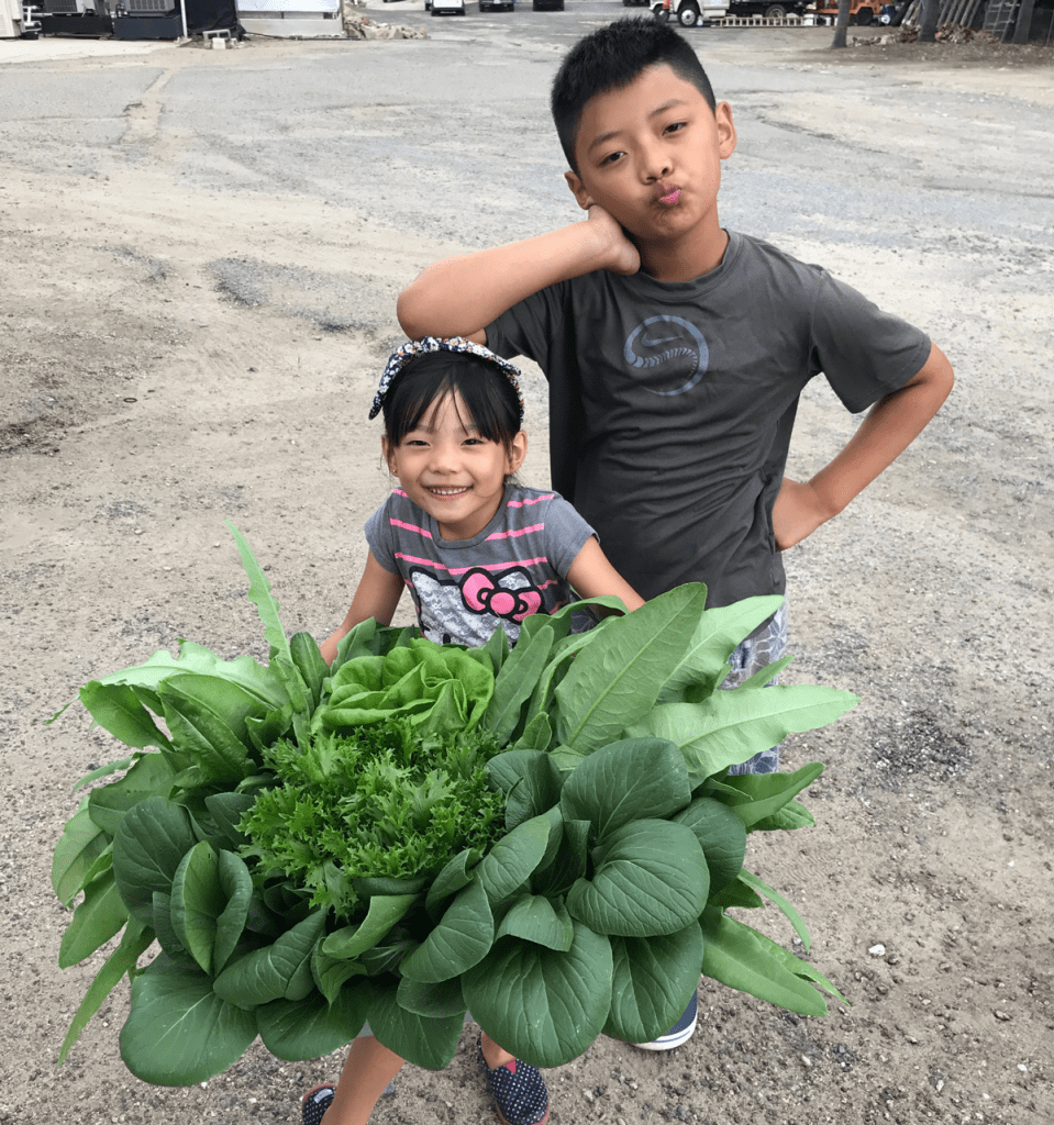 Endeavour Shen's children showing off greens grown at Sundial Farms in San Diego, CA.