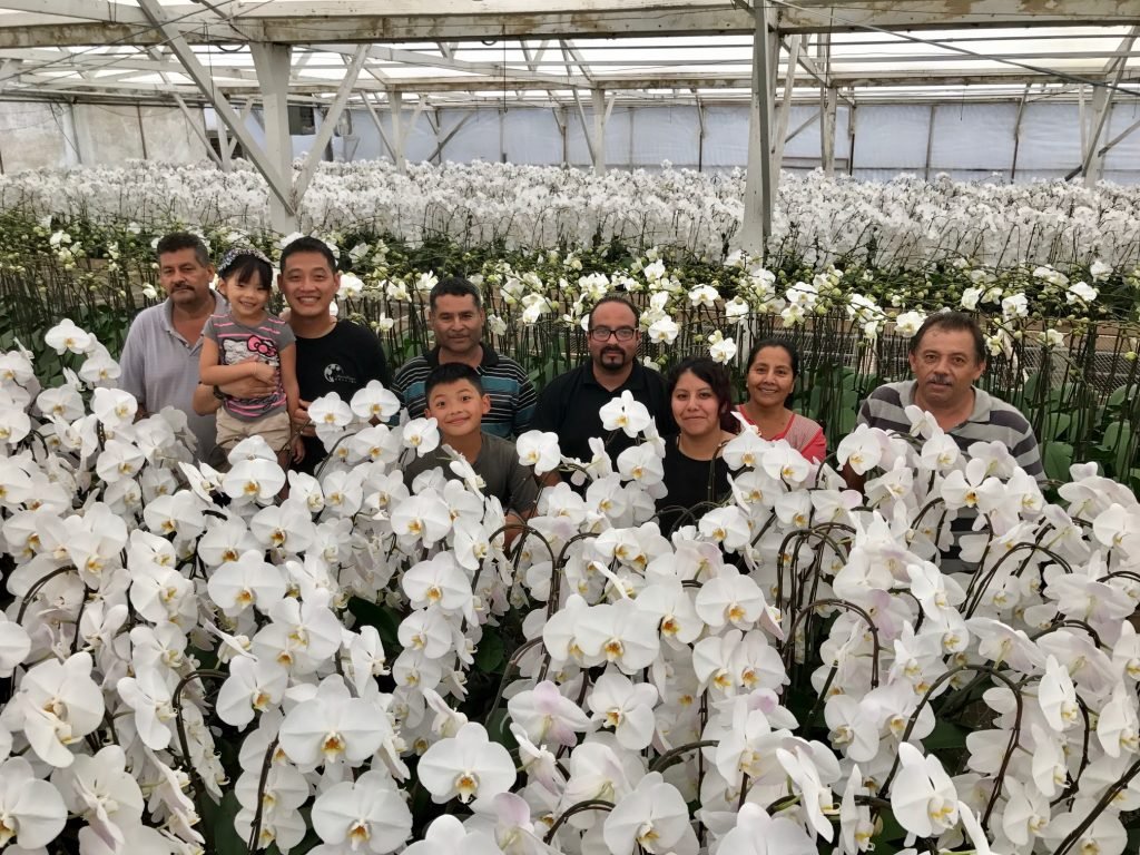 Photo with Endeavour and staff on the upstairs portion of his farming operation, South Coast Orchids.
