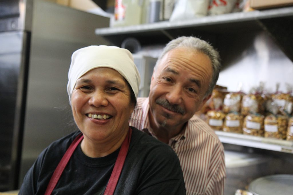 The café's bread baker, Lorena, and Charles Kaufman.