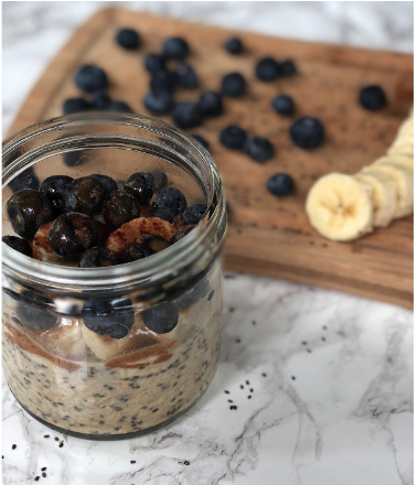 A jar of overnight oats, a fast, healthy breakfast you can take on the the road.