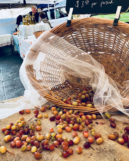 "No more grapes from Sweet Tree Farms after this farmers market! However, Annie donates left over produce or ""seconds"" from the farm to local soup kitchens. Fruit that's too far gone to eat gets made into compost that gets used to grow more food!"